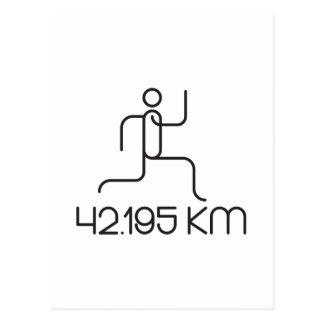 42.195 km marathon distance postcard