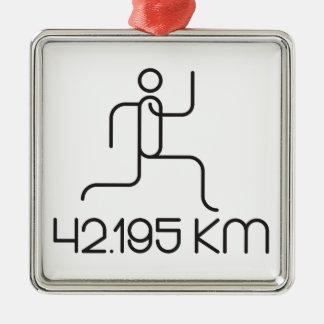 42.195 km marathon distance Silver-Colored square ornament