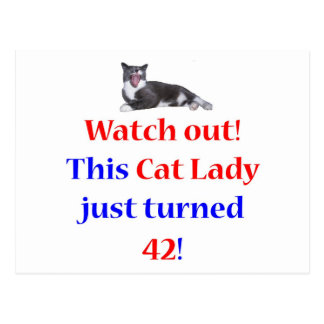 42 Cat Lady Postcard
