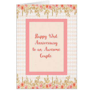 42nd Anniversary Card in Peach with Floral Borders