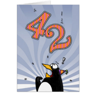 42nd Birthday - Penguin Surprise Card
