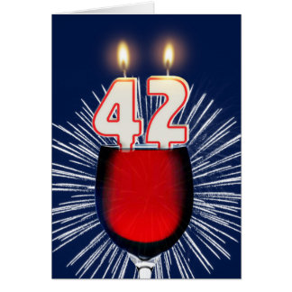 42nd Birthday with wine and candles Card