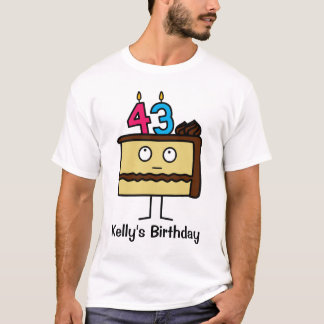 43rd Birthday Cake with Candles T-Shirt