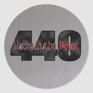 440 Mopar Beast brushed steel Classic Round Sticker
