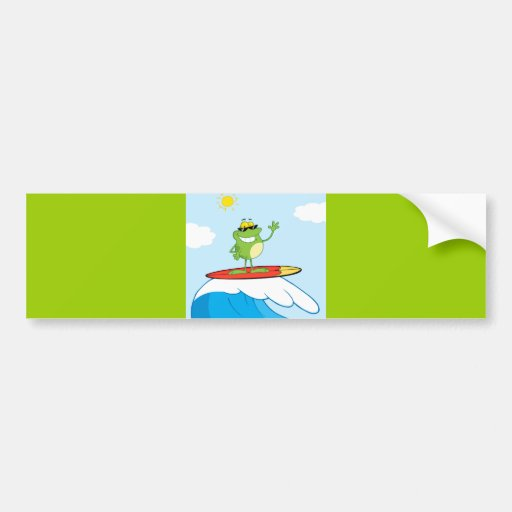 4419-Happy-Frog-While-Surfing HAPPY SURFER FROG CA Bumper Sticker