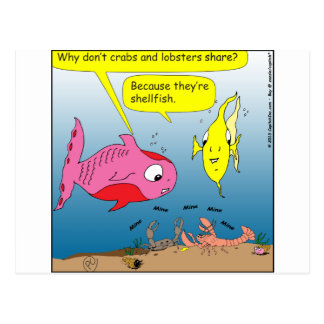 441 shell fish Cartoon Postcard