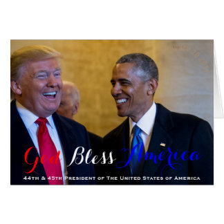 44th and 45th President of The USA Obama and Trump Card