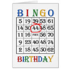 44th Birthday Bingo card
