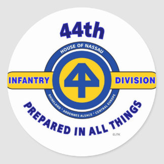 """44TH INFANTRY DIVISION """"PREPARED IN ALL THINGS"""" ROUND STICKER"""
