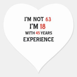 45 birthday design heart sticker