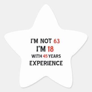 45 birthday design star sticker