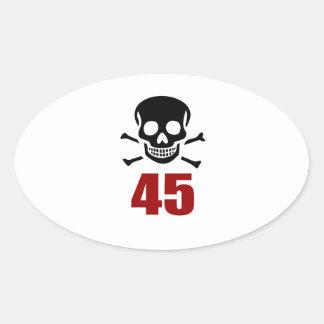 45 Birthday Designs Oval Sticker