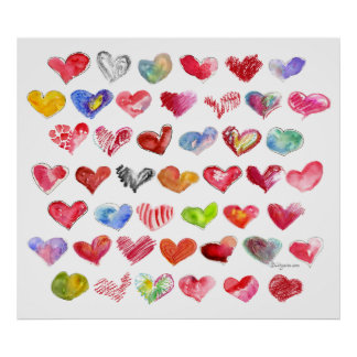 45 Love Hearts Large Poster