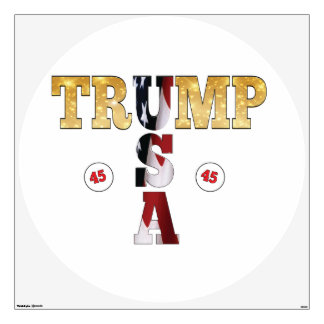 45 President Trump USA Gold Glitter Flag Color Wall Decal