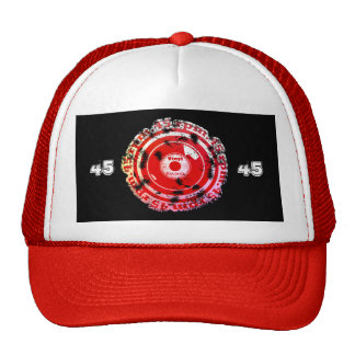 45 RPM. Vinyl Record Red and White Distressed Trucker Hat