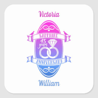 45 Year traditional sapphire 45th  anniversary Square Sticker