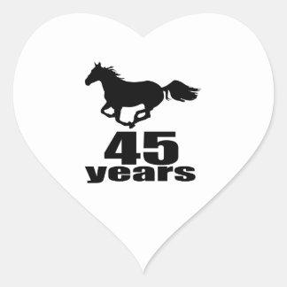 45 Years Birthday Designs Heart Sticker