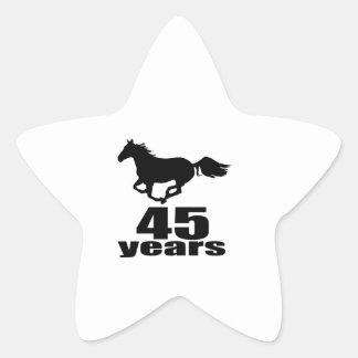 45 Years Birthday Designs Star Sticker