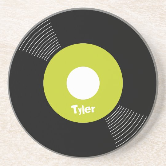 45s Record Coaster (Lime) CUSTOMIZABLE