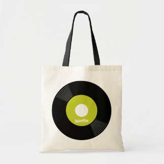45s Record Tote (Lime) CUSTOMIZABLE