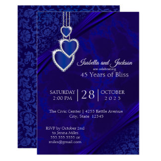 45th / 65th Sapphire Wedding Anniversary Design Card