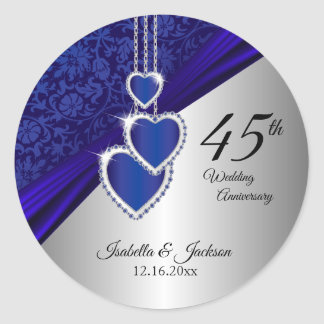 45th / 65th Sapphire Wedding Anniversary Design Classic Round Sticker