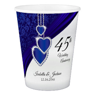 45th / 65th Sapphire Wedding Anniversary Design Paper Cup