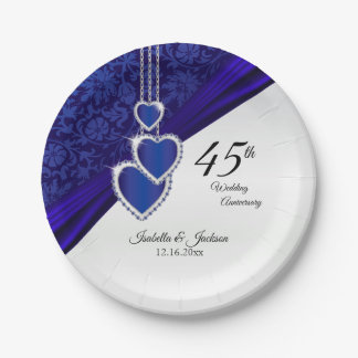 45th / 65th Sapphire Wedding Anniversary Design Paper Plate