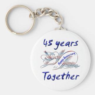 45th. Anniversary Basic Round Button Keychain