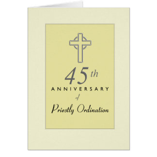45th Anniversary of Priest with Embossed Cross, Re Card