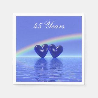45th Anniversary Sapphire Hearts Disposable Napkin