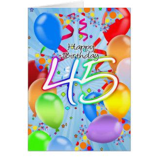 45th Birthday - Balloon Birthday Card - Happy Birt