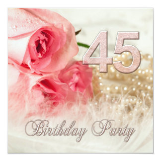 45th Birthday party invitation, roses and pearls Card