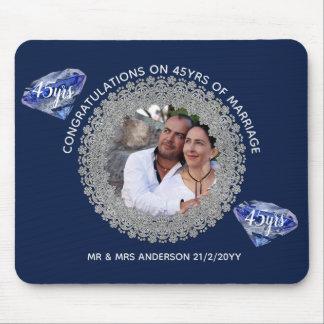 45th Wedding Anniversary - ADD PHOTO Sapphire Blue Mouse Pad