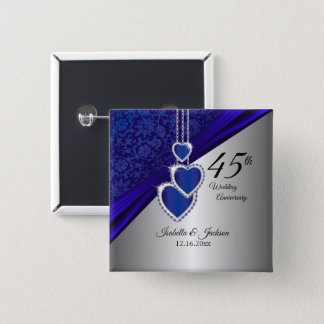 45th Wedding Anniversary Design 2 2 Inch Square Button