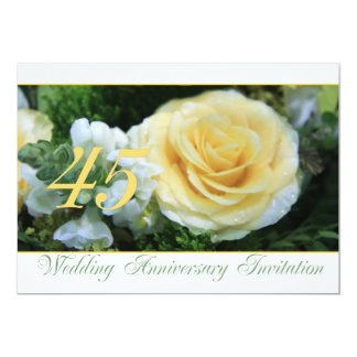 45th Wedding Anniversary Invitation - Yellow Rose
