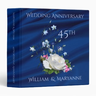 45th Wedding Anniversary Roses Custom Memories Vinyl Binders