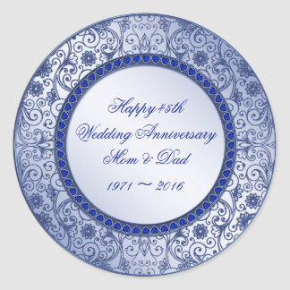 45th Wedding Anniversary Round Sticker