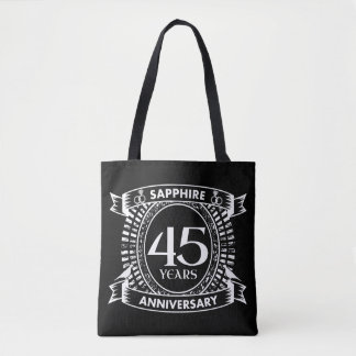 45th wedding anniversary sapphire crest tote bag