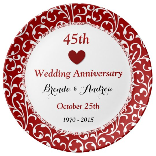 45th Wedding Anniversary Sapphire Red Damask A45A Porcelain Plate