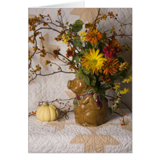 4603 Pig Pitcher Floral Thanksgiving Greeting Card