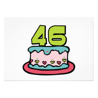 46 Year Old Birthday Cake Custom Announcements