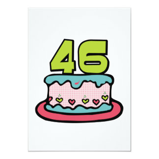 "46 Year Old Birthday Cake 5"" X 7"" Invitation Card"