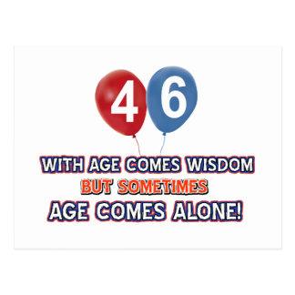 46 year old wisdom birthday designs postcard