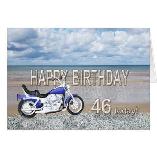 46th birthday card with a motor bike