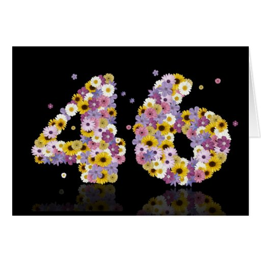 46th birthday card with flowery letters