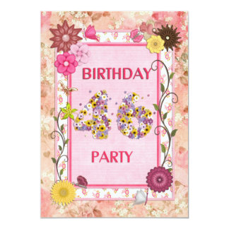 "46th birthday party invitation with floral frame 5"" x 7"" invitation card"