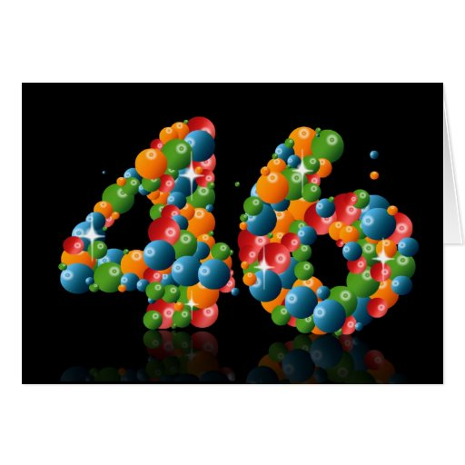 46th birthday with numbers formed from balls greeting cards