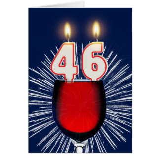 46th Birthday with wine and candles Card