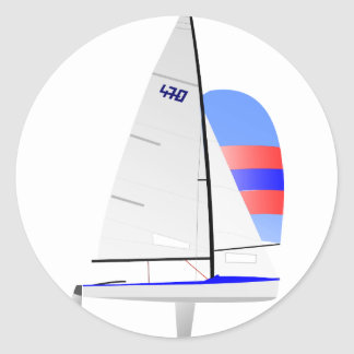 470  Racing Sailboat onedesign Olympic Class Classic Round Sticker